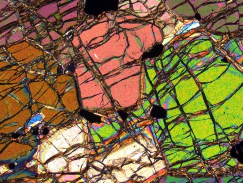 Thin Section of the 3.8 Billion-Year-Old Mantle Rock from Southwestern Greenland