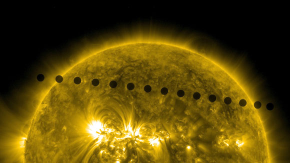 A Timelapse Image of Venus's Path Across the Sun