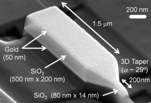 A scanning-electron-microscope image of the nanofocusing device