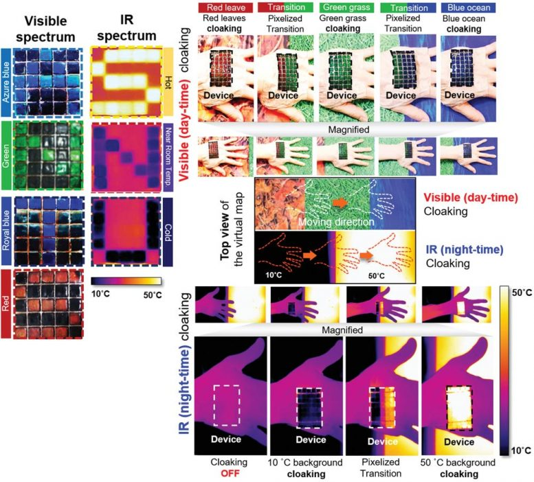 Active Camouflage Artificial Skin Visible and Infrared