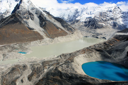 Aerial view of the Imja glacier and Lake Imja, Nepal, the Himalayas