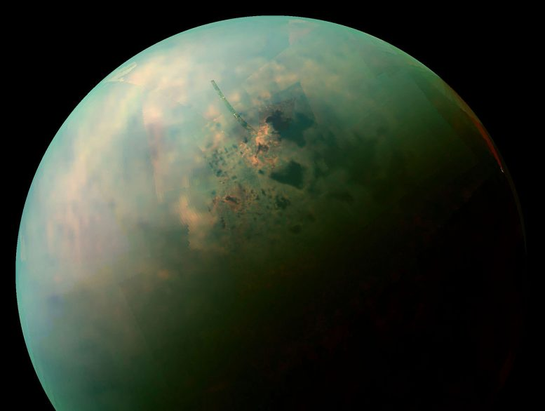 A shimmer of color, near the infrared view of Titan's northern hemisphere, collected by NASA's Cassini spacecraft, showing the seas and lakes of the Moon. The orange areas near some of them can be depositions of organic evaporation minerals abandoned by the withdrawal of liquid hydrocarbons. Credit: NASA / JPL-Caltech / Institute of Space Sciences </p> </div> <p>  The ice sheets of the moon of Saturn Titan may be inlaid with strange, non-terrestrial minerals, according to a new study here. </p> <p> their lab has discovered new compounds and minerals not found on Earth, including a solid acetylene and butane co-crystal. </p> <p>  Acetylene and butane exist on the Earth as gases and are commonly used for welding and stove fuels. At titanium, with its extremely low temperatures, acetylene and butane are solid and combine to form crystals, according to the new study. Morgan Kabel, of the NASA Laboratory of Reactive Movement at the California Institute of Technology, who will present the new study Monday at the Scientific Conference on Astrobiology for 201<div class=