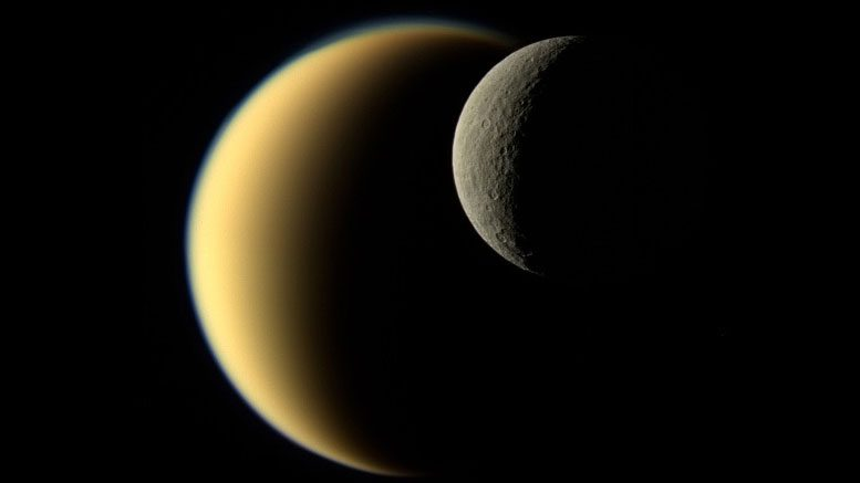 Amazing Cassini Image of Rhea Passing in Front of Titan