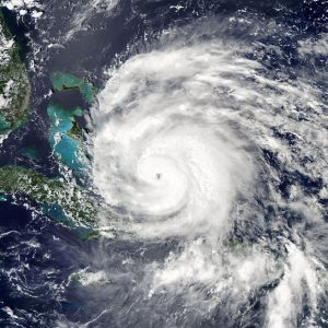 An satellite image of Hurricane Irene on the U.S. East Coast in August 2011.