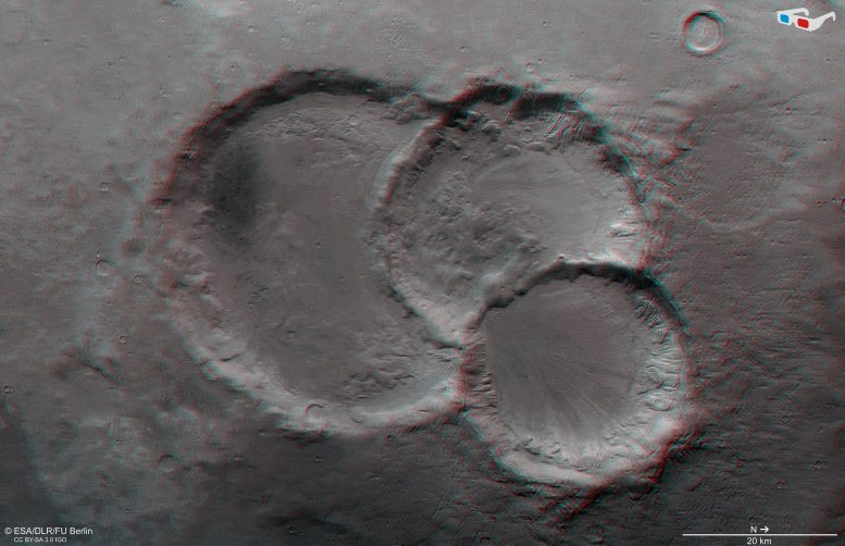 Ancient Crater Triplet on Mars 3D