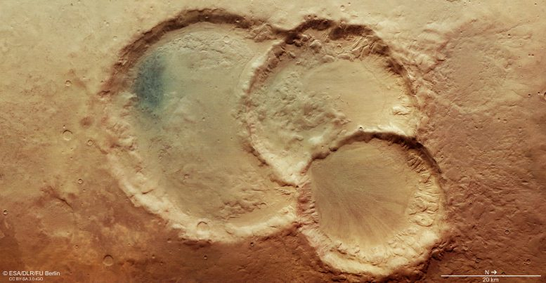 Ancient Crater Triplet on Mars