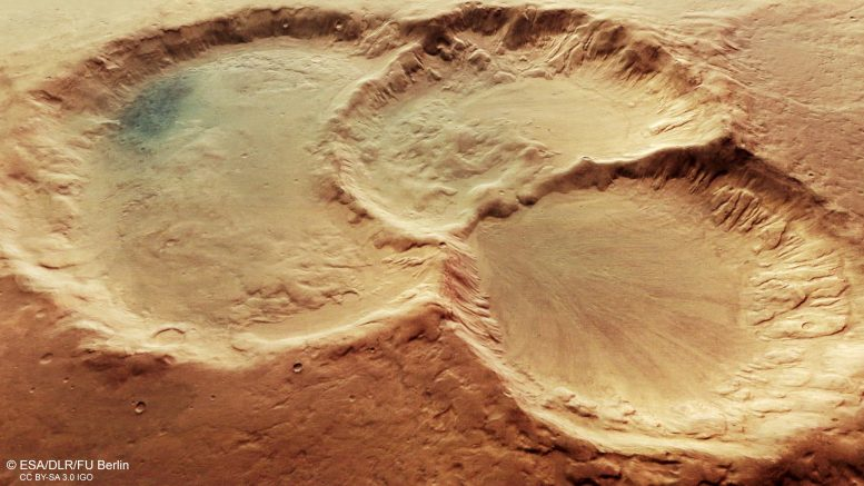 Ancient Crater Triplet on Mars Perspective View
