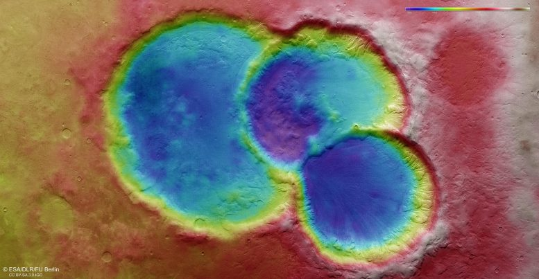 Ancient Crater Triplet on Mars Topographic View