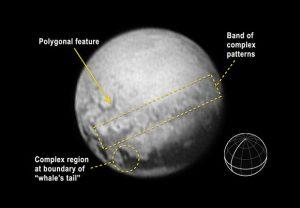 Annotated Image of Pluto's Newly Discovered Features