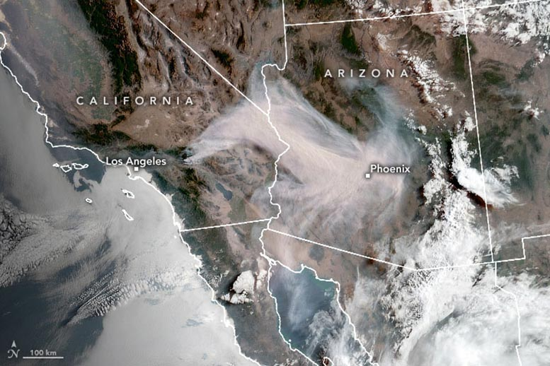 NOAA Satellite Watches Smoke From Apple Fire Spread – Driven by High Temperatures, Strong Winds - SciTechDaily