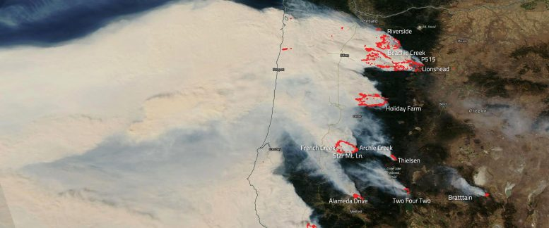 Aqua Satellite Oregon Wildfires September 2020 Labeled