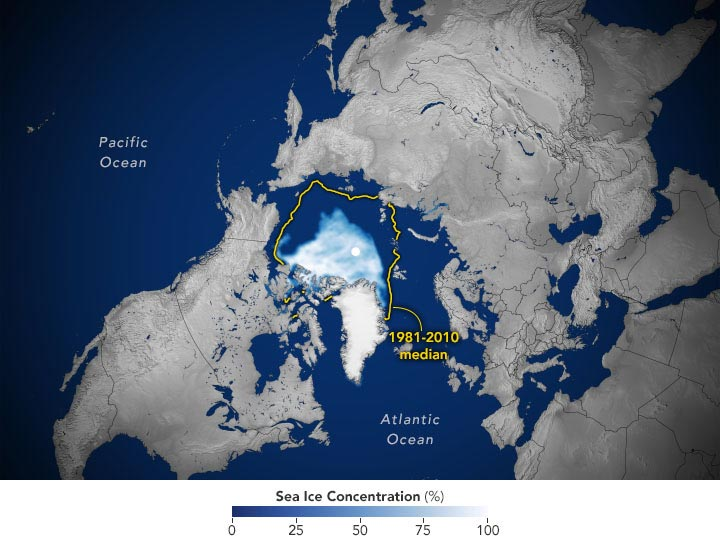 Arctic Sea Ice Concentration September 2020 Annotated