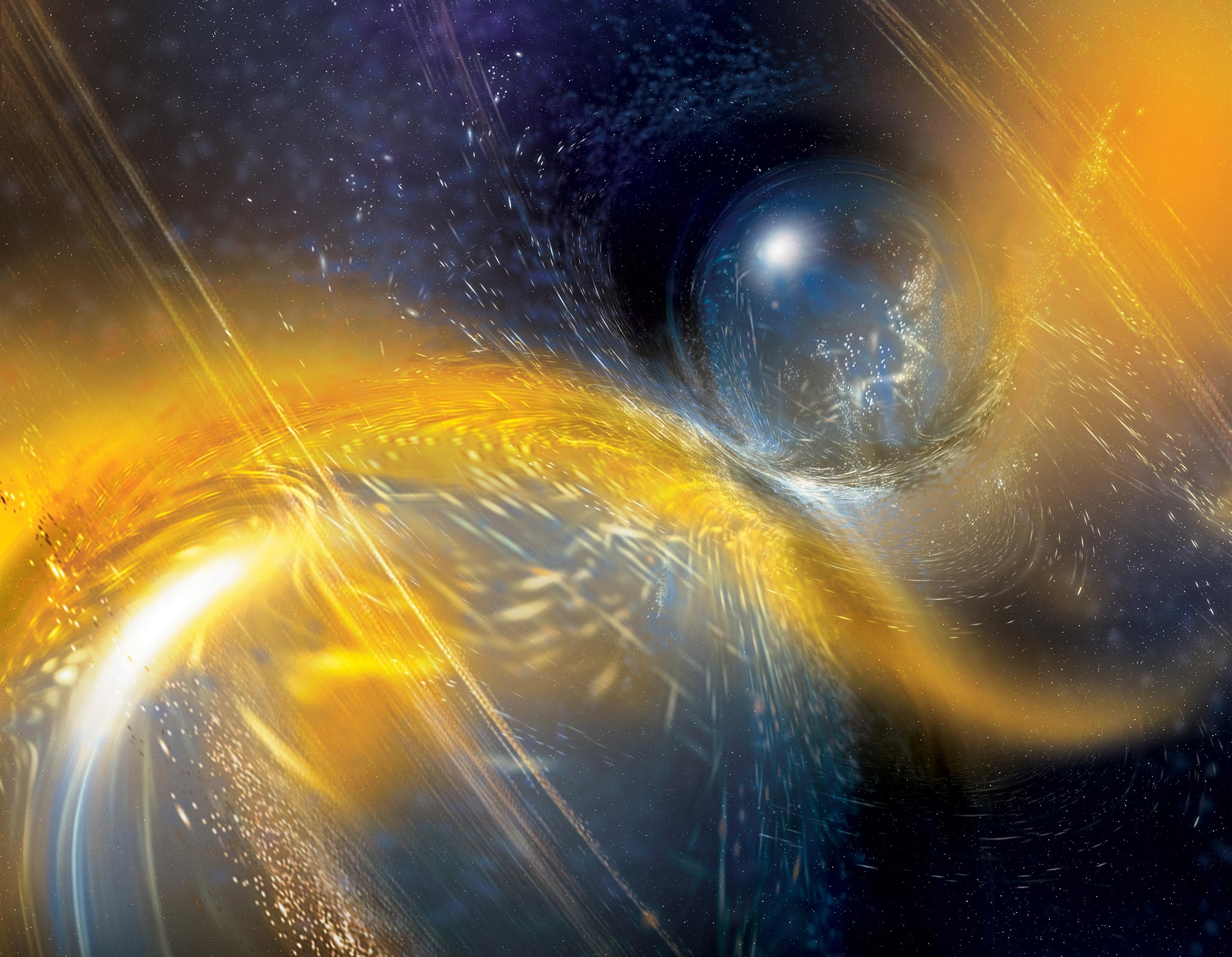 Gravitational Waves Surge Through the Fabric of Space and Time After Neutron Stars Violently Collide - SciTechDaily