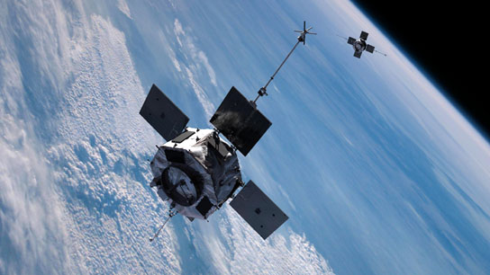 Artist concept of the twin Radiation Belt Storm Probes spacecraft, scheduled for launch in August 2012.