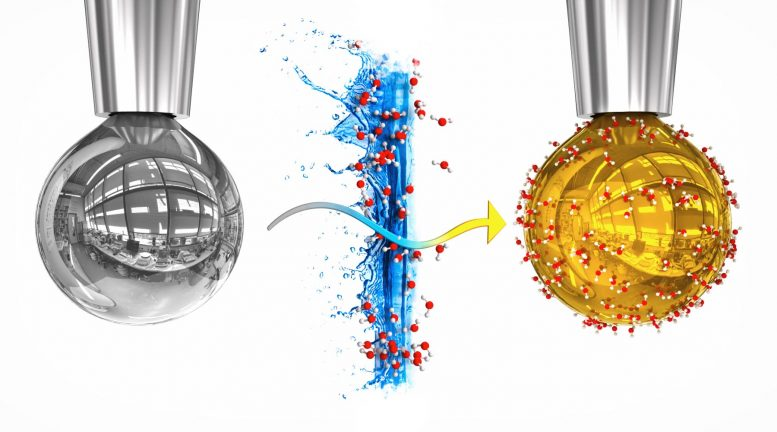 Artistic Rendering of a Pure Sodium Potassium Alloy Drop and Drop With Layer of Water