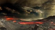 Artist's Concept of Meteors Impacting Ancient Earth