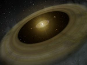 Artist's rendition of PDS 70 and its two protoplanetary disks