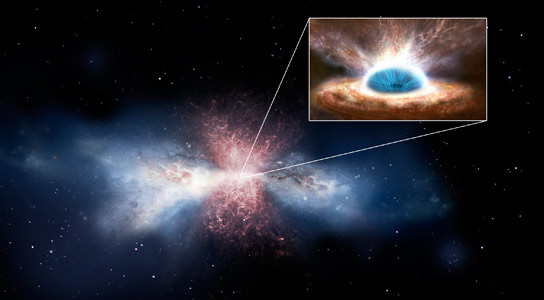 Astronomers Link Black-Hole Wind to a Galactic Gush of Star-Forming Gas