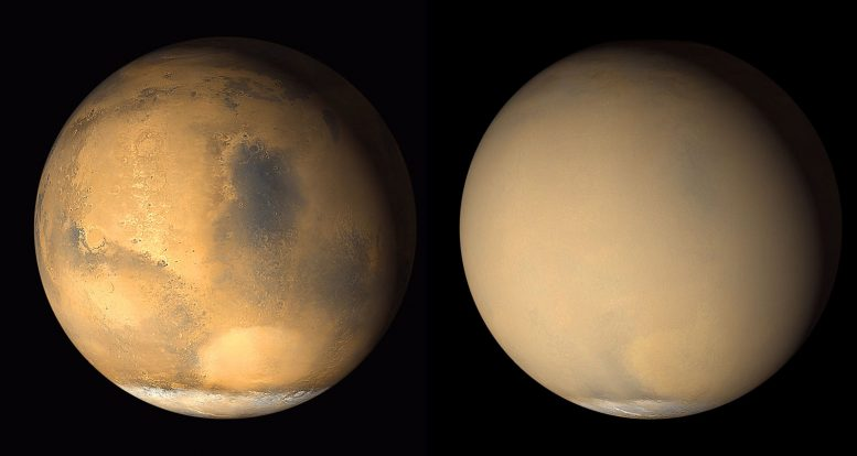 Astronomers Link Dust Storms to Gas Escape from Mars Atmosphere