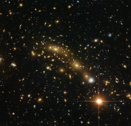 Astronomers Map the Mass Within a Galaxy Cluster More Precisely Than Ever Before