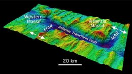Atlantis Massif, showing the fault that borders this Atlantic Ocean seamount