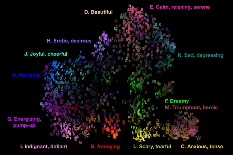 Audio Map of 13 Emotions Triggered by Music