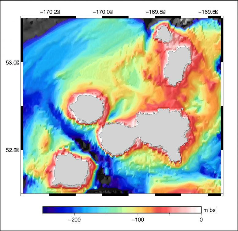 Bathymetry Islands Four Mountains Area