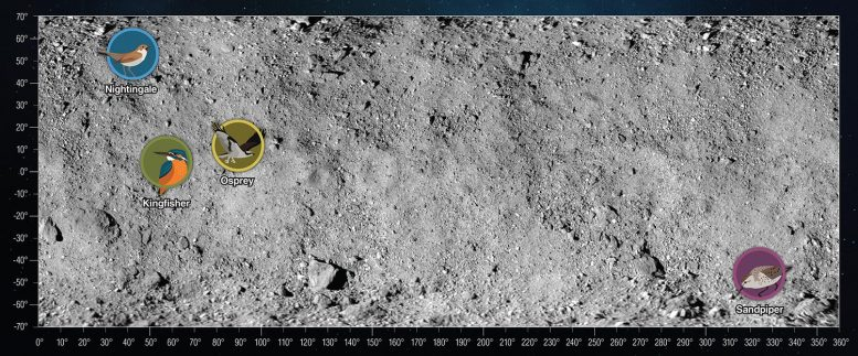 Bennu Asteroid Four Candidate Sample Collection Sites
