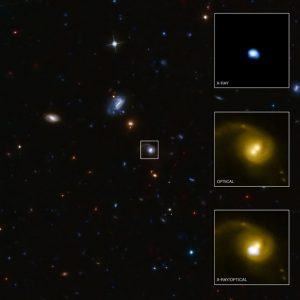 Black hole kicked out of home galaxy