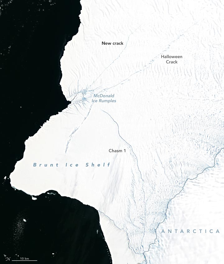 Brunt Ice Shelf January 2021 Annotated