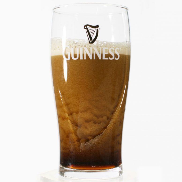 Bubble Texture of Guinness Beer in Pint Glass