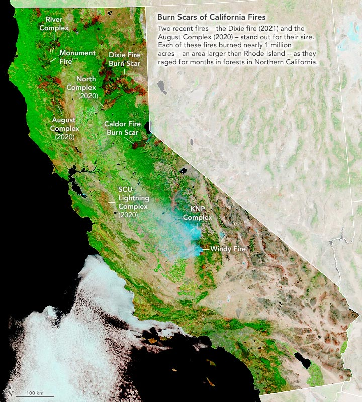 Burn Scars California Fires September 2021 Annotated