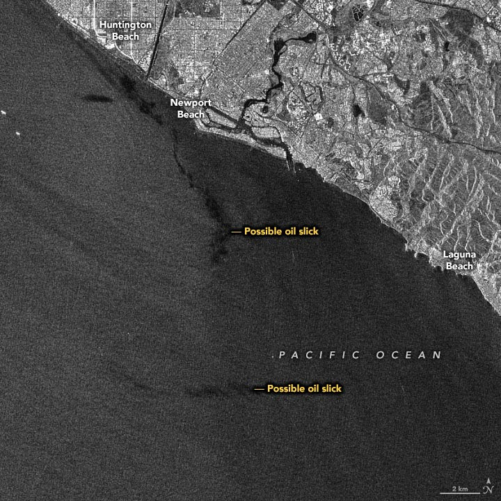 California Oil Spill Synthetic Aperture Radar October 2021 Annotated