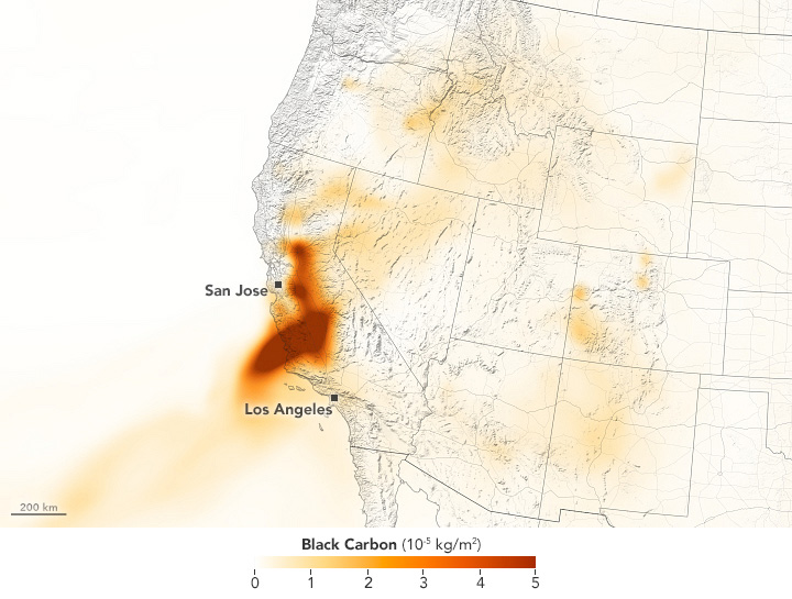 California Wildfire Black Carbon August 2020 Annotated