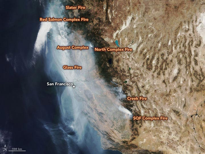 California Wildfires October 1 2020 Annotated