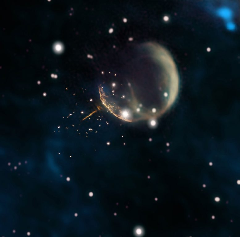 Cannonball Pulsar Speeding Through Space