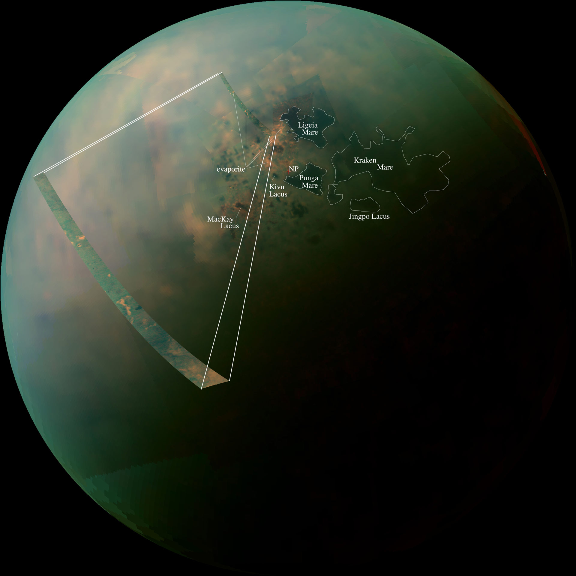 new cassini images of titan 39 s hydrocarbon seas and lakes