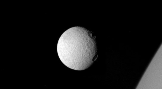 Cassini Image Shows Craters on Tethys