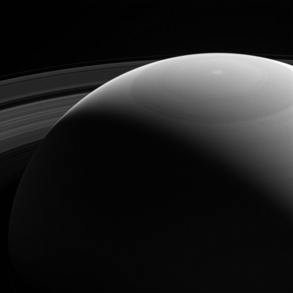 Cassini Peeks Over Saturn's Shoulder
