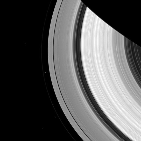 Cassini Sees Four Moons of Saturn