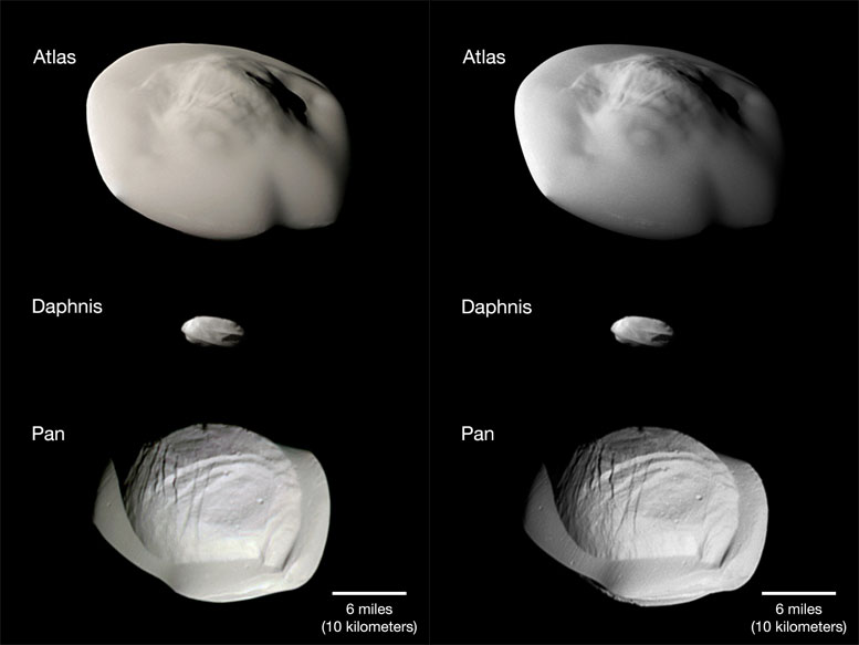 NASA's Cassini Spacecraft Shows Three of Saturn's Small Ring Moon