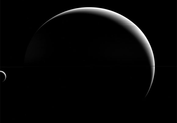 Cassini Spacecraft Views Titan and Saturn
