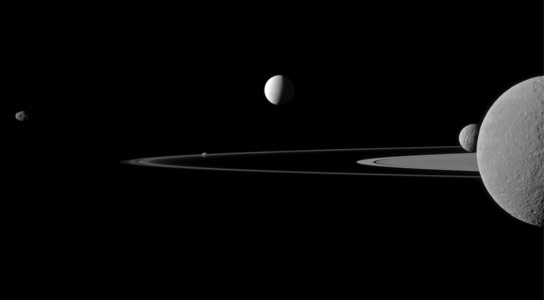 Cassini Spacecraft Views the Moons of Saturn
