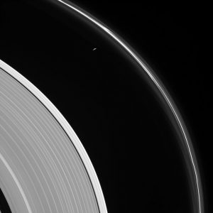 Cassini Views Prometheus and the Ghostly F Ring