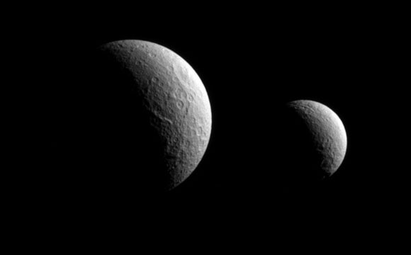 Cassini Views Tethys and Rhea