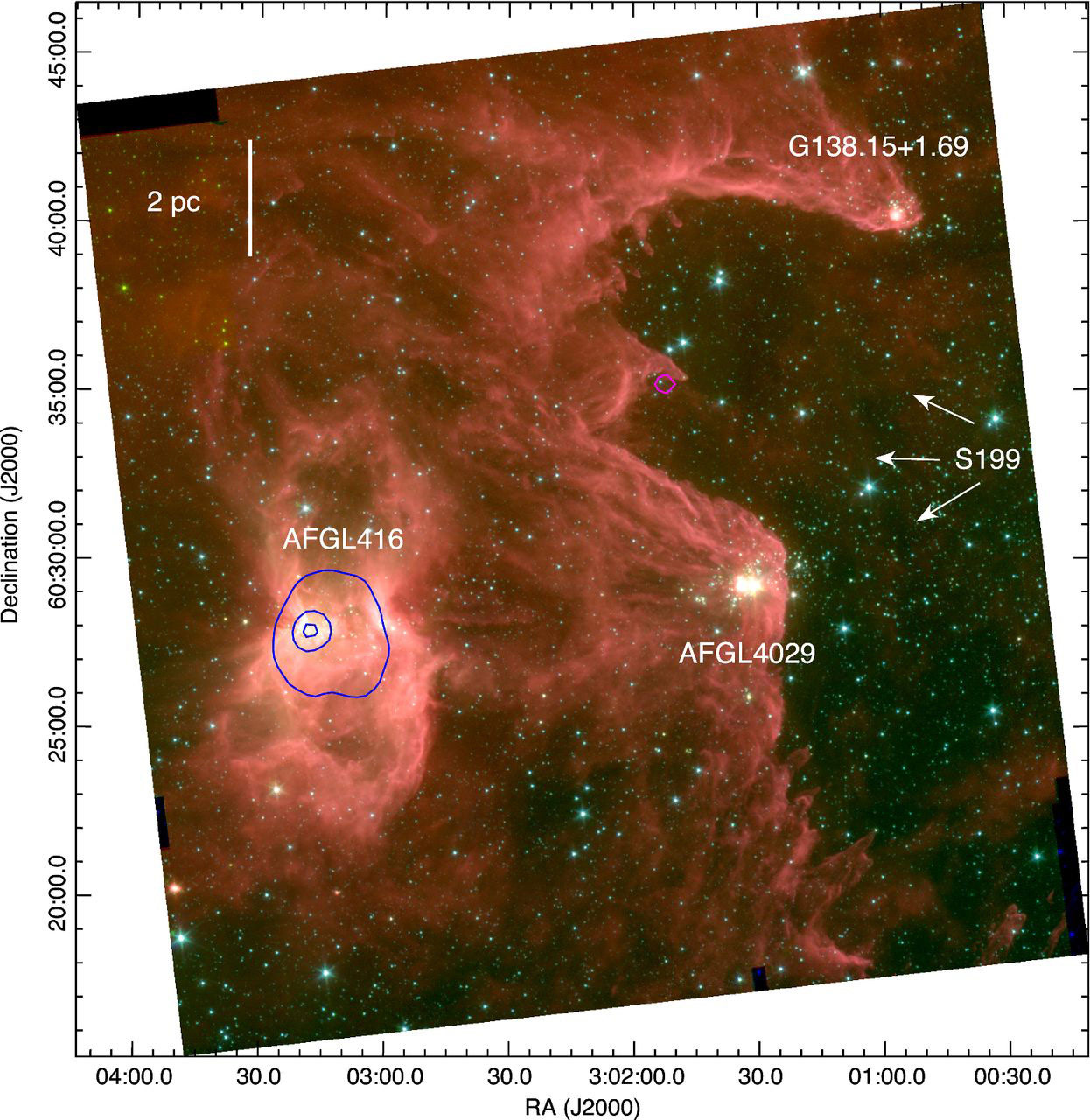 ... S252, S254-S258 and NGC7538, revealing clusters of massive new stars