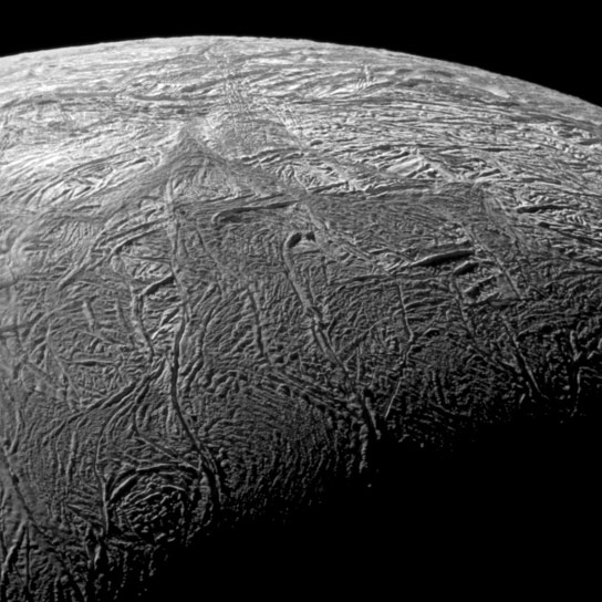 Close Up View of Fractures on Enceladus