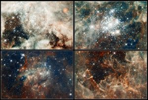 Close-up images of features in the Tarantula Nebula