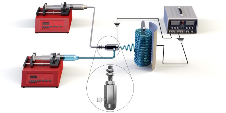 Co Axial Electrospinning Device Schematic
