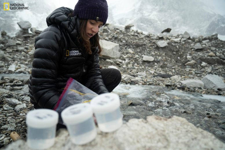 Collecting Snow Samples at Everest Base Camp